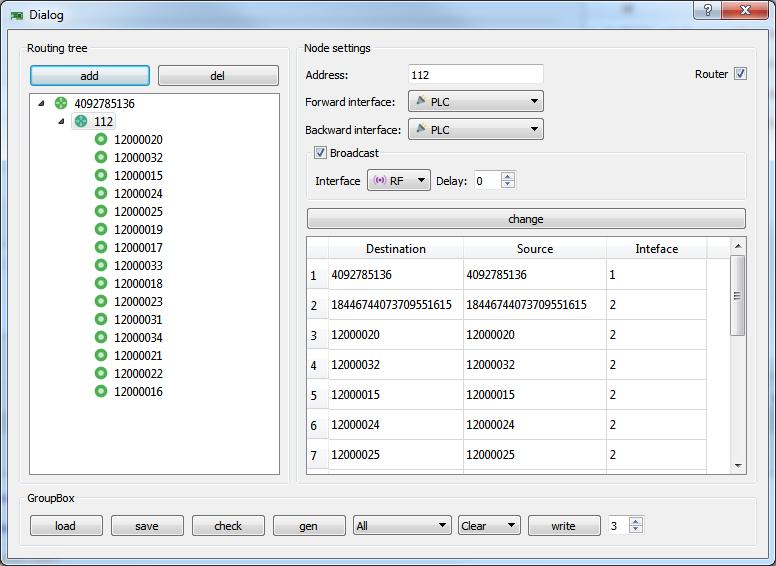 Окно конфигурации дерева маршрутов PLC/RF сети