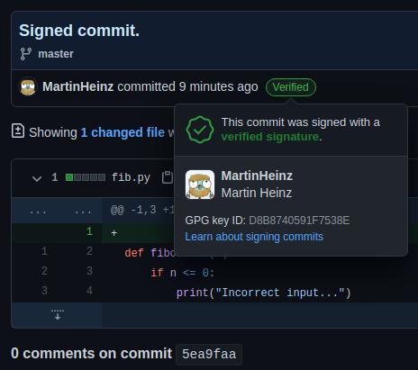 Подписанный проверенный коммит.