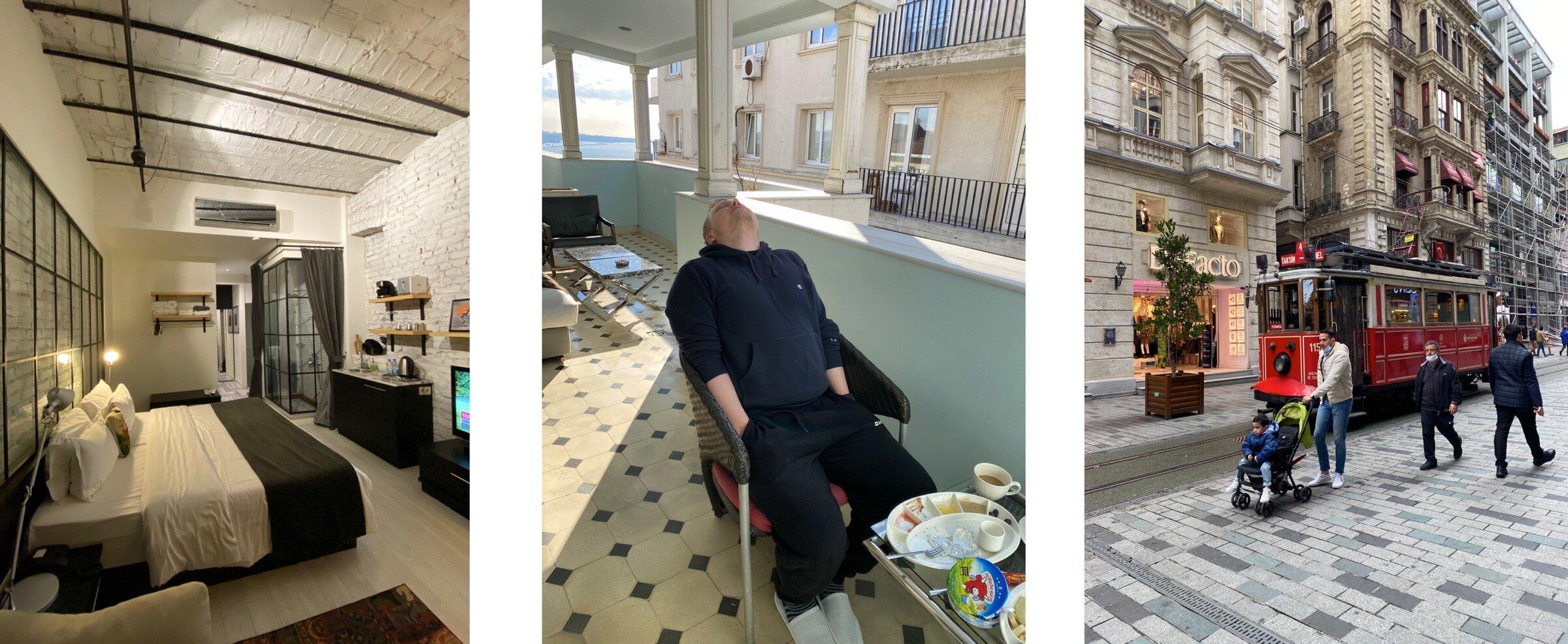 Типичный номер, типичный я на балконе в 7 утра, типичный вид из входа в отель