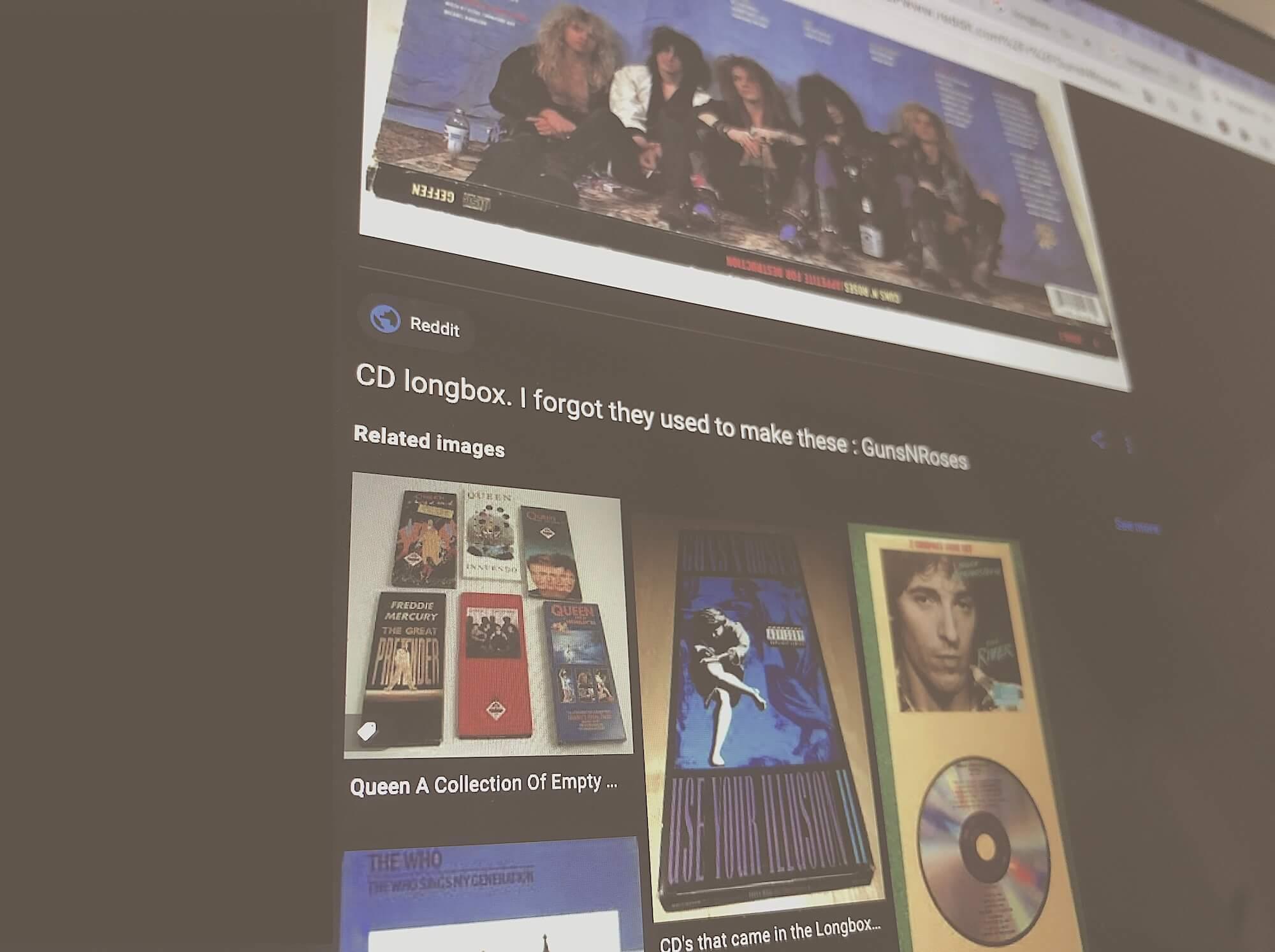 Пример выдачи конвертов музыкальных альбомов по запросу «longbox»