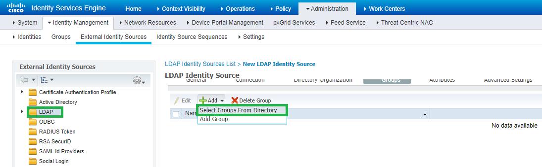 Рисунок 8. Добавление групп из LDAP сервера