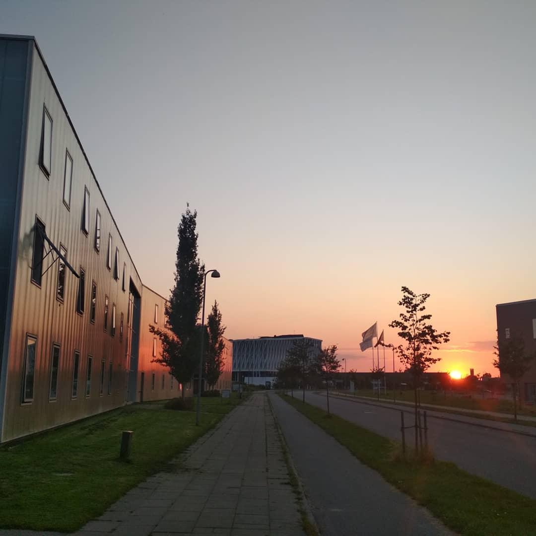 Вид на местную ратушу и общежитие колледжа.