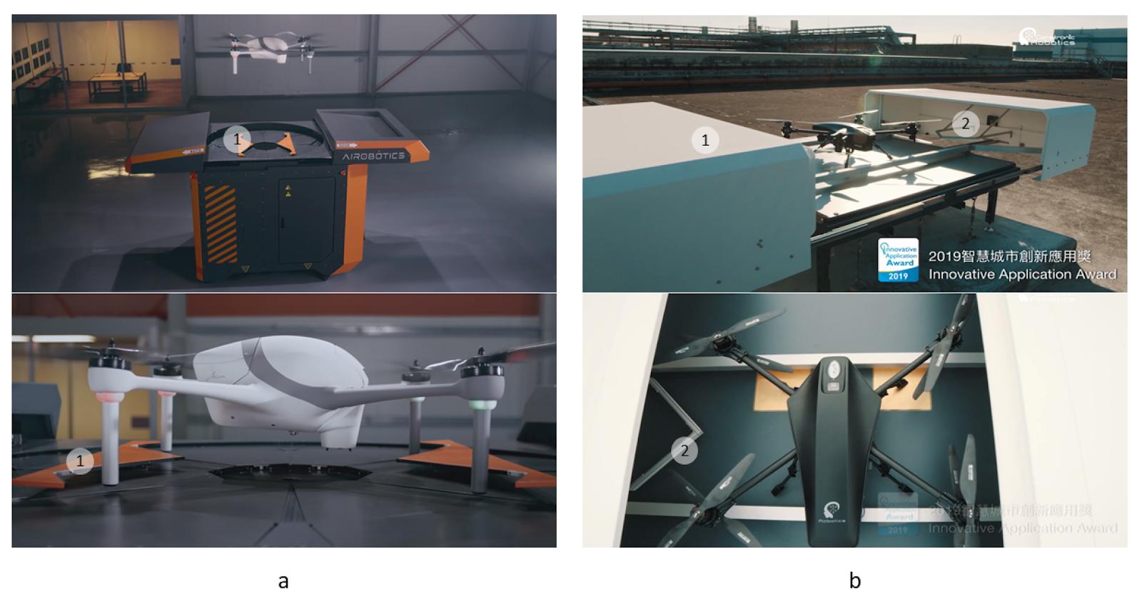 Примеры платформ для БПЛА с V- и W-образными толкателями. (a), станция Airobotics с параллельными W-образными толкателями (1); (b), станция Coretronic Intelligent Robotics (CIRC) с V-образными толкателями (2), интегрированными с крышками (1)