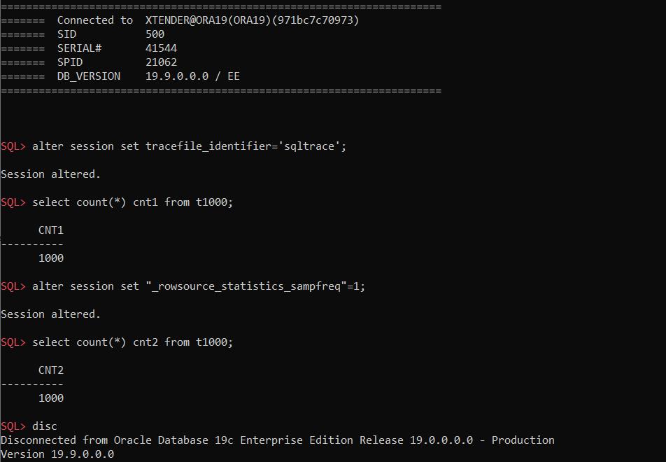 сначала выполняем запрос с настройками по умолчанию, а затем с _rowsource_statistics_sampfreq=1