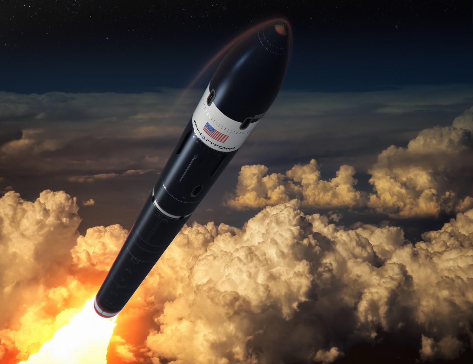 Художественная визуализация ракеты Daytona. Изображение: Phantom Space