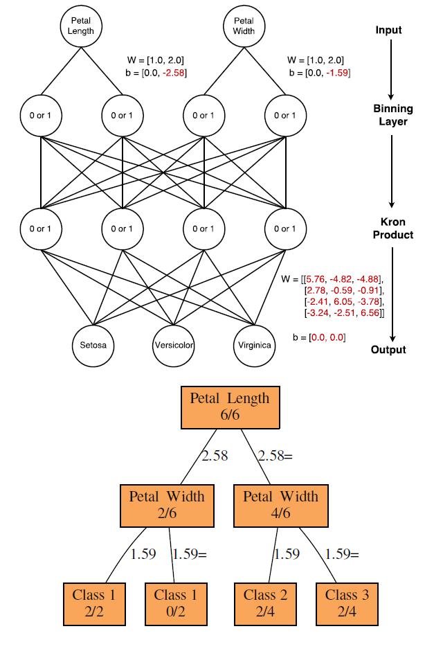 Рисунок 2. Изученный DNDT для набора данных Iris (сокращенная версия с двумя функциями). Вверху: DNDT - показано, где красным шрифтом указаны обучаемые переменные, а черным – константы. Внизу: DT – визуализация той же сети, что и обычное дерево решений. Дроби указывают маршрут случайно выбранных 6 классифицируемых экземпляров.