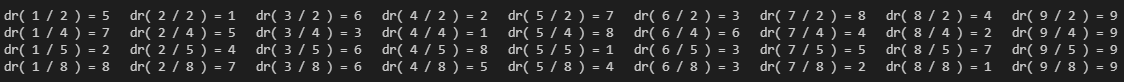 Таблица деления для делителей, которые взаимно просты с десятичной системой счисления.