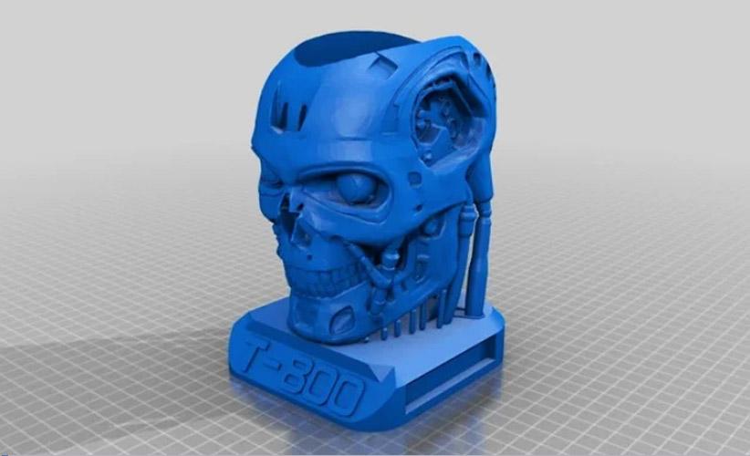 Терминатор-карандашница - готовая модель для печати