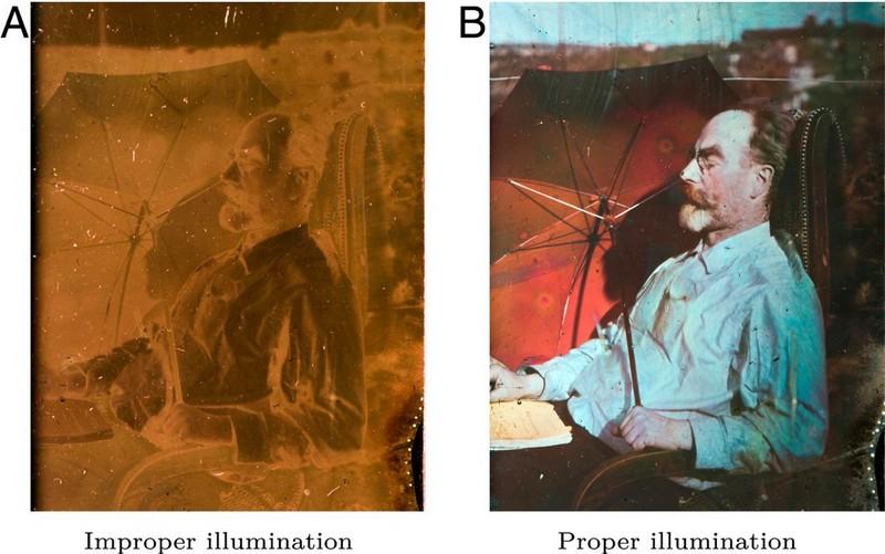 Автопортрет Габриэля Липпмана при разном освещении. (A) Рассеянное освещение. (B) Направленный свет, входящее направление которого является зеркальным отображением направления взгляда по отношению к поверхности пластины.