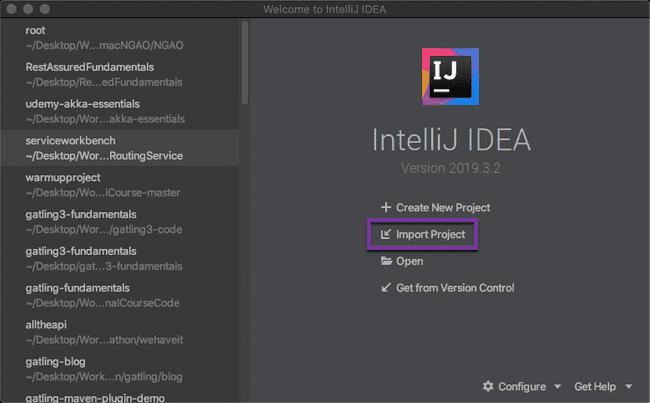 Import IntelliJ Gatling project
