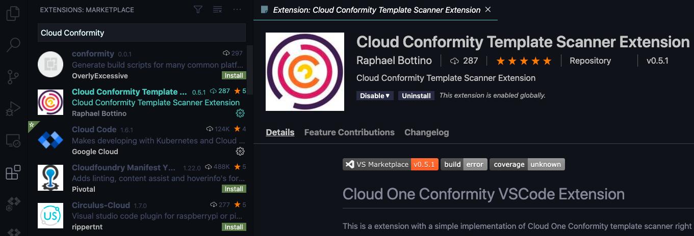 Расширение для сканирования шаблонов Cloud One Conformity Template Scanner