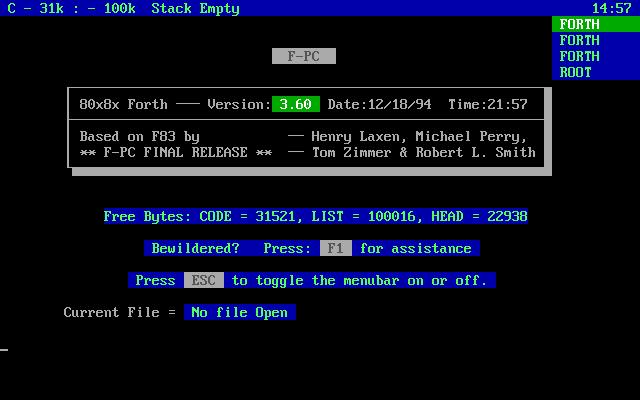 F-PC Forth - стартовый экран.