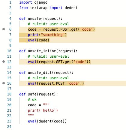 Результат выполнения поиска Semgrep из облачной версии инструмента