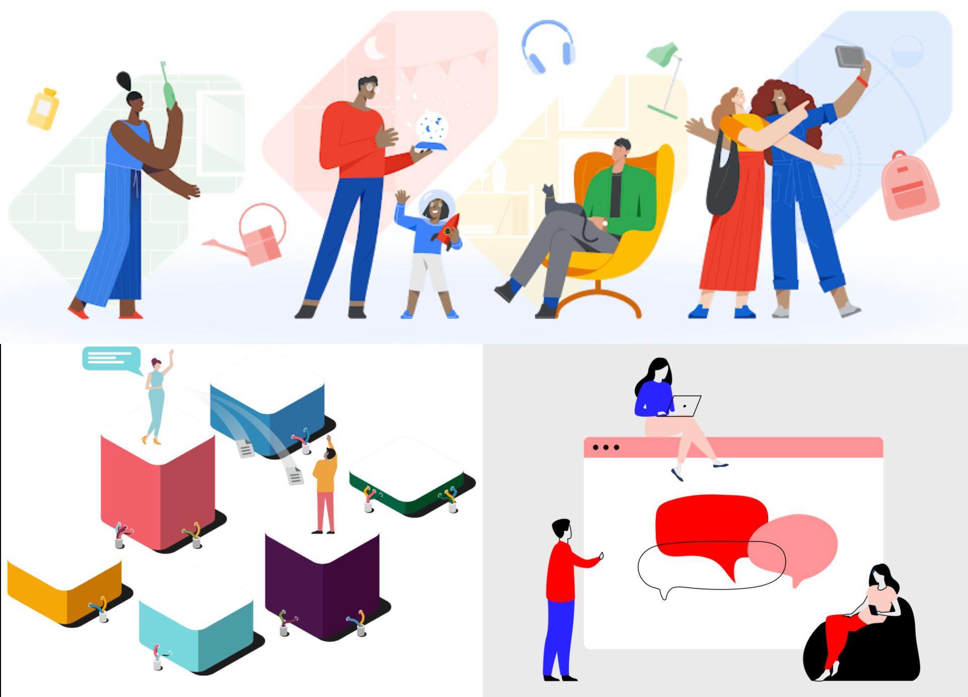 Да, эти иллюстрации с разных сайтов: скриншоты из Slack, Markup и Google Покупок.