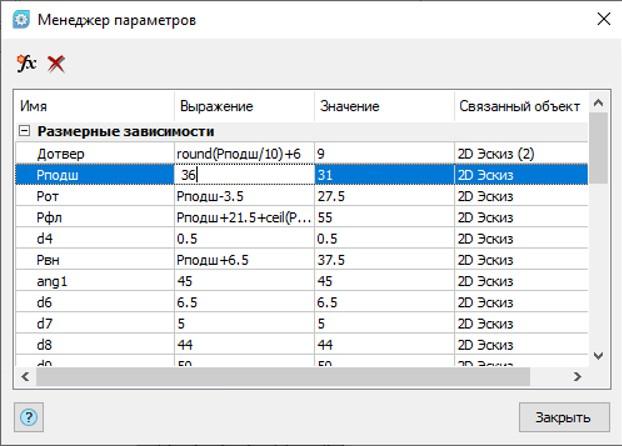 Рис. 24. Редактирование сборки при помощи Менеджера параметров