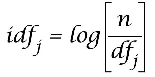 Обратная частота документов (IDF); формула взята из https://moz.com/blog/inverse-document-frequency-and-the-importance-of-uniqueness