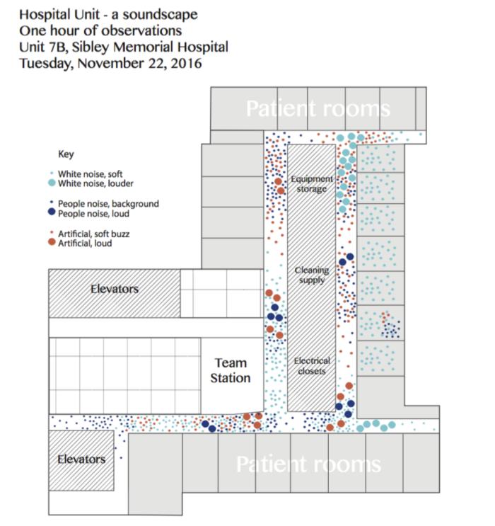 Карта шума Sibley Memorial Hospital, разработанная Sen Sound