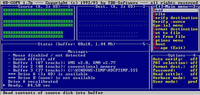 Чтение дискеты завершено за 84.5 секунды