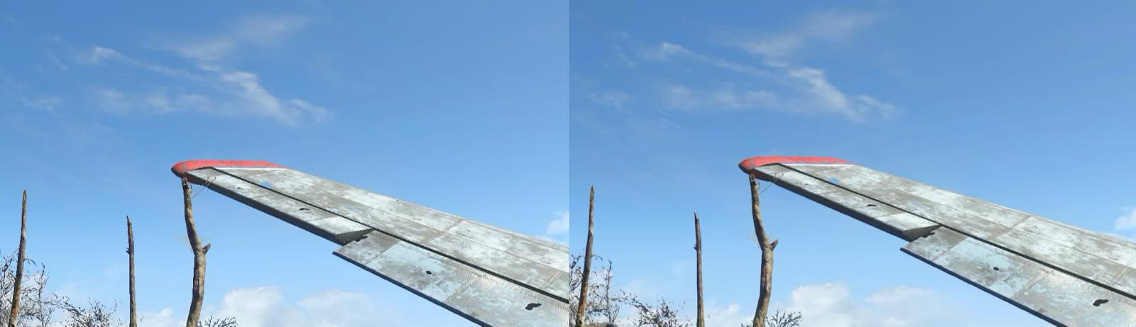 Без AA (слева) и FXAA (справа) — обратите внимание, что деревья и элероны на крыле выглядят намного более гладкими