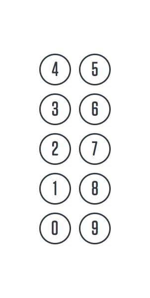 Расположение кнопок на клавиатуре операторов телефонных служб, 1950-е.