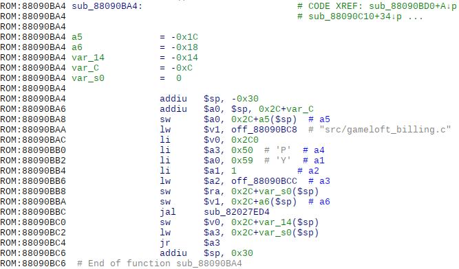 Функция вывода номера строки файла src/gameloft_billing.c