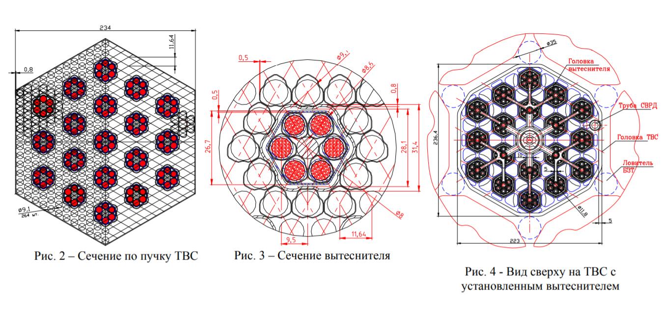 Возможный вариант конструкции ТВС для ВВЭР-С с вытесняющими стержнями