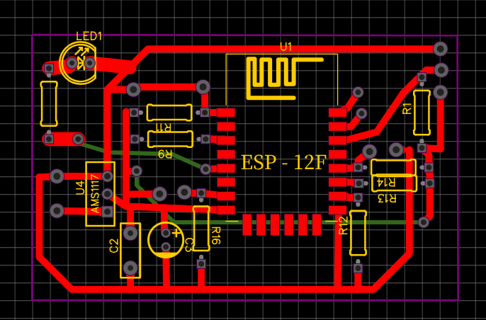 печатная плата для модуля датчика(зеленое на плате - проводки на другой стороне)