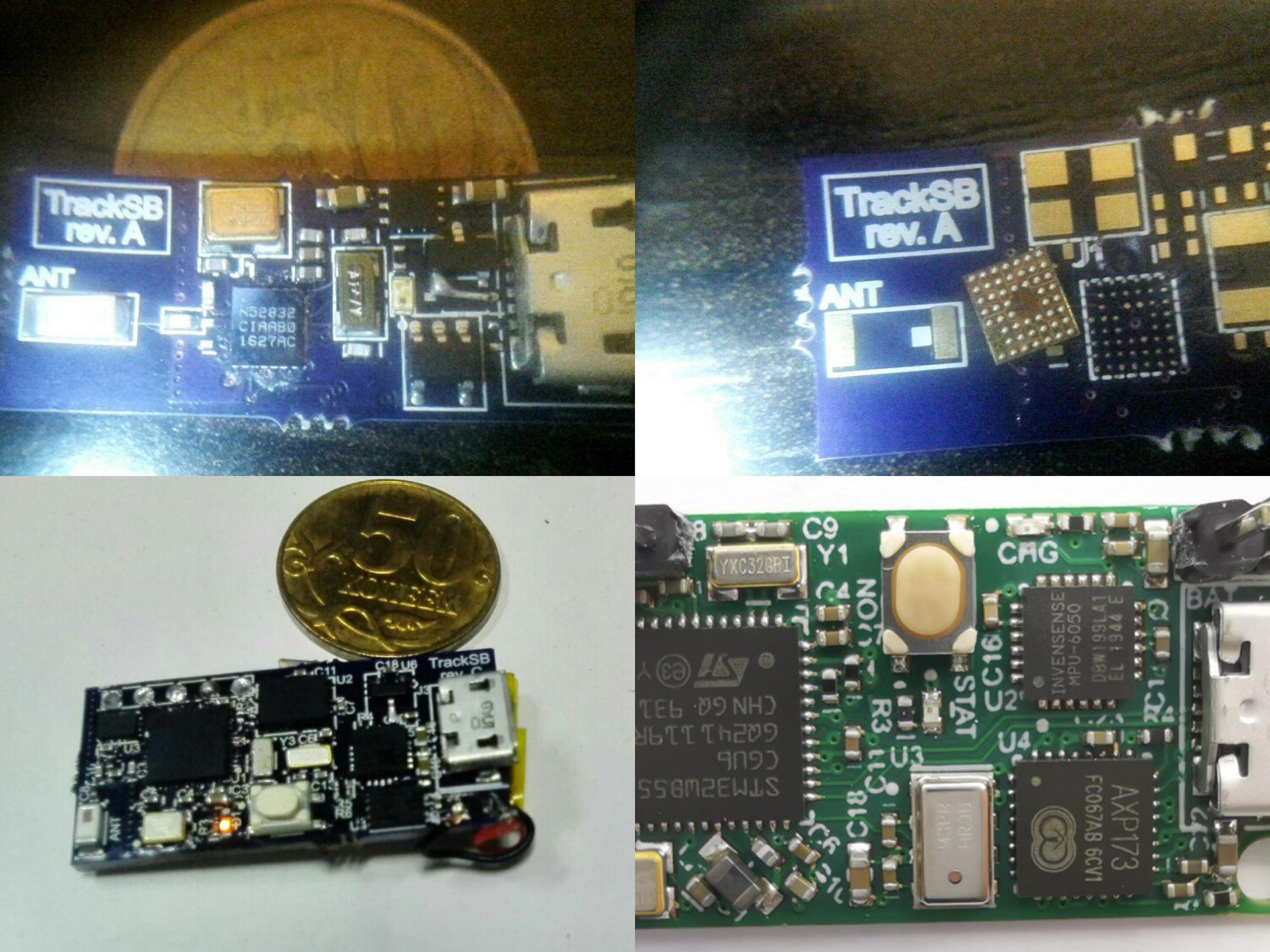 Прототипы на микроконтроллерах nRF52 (в WLCSP корпусе, чем я только думал?), NXP QN9080 и STM32WB55. Ничего не бывает с первого раза, эти ревизии работали лишь частично.