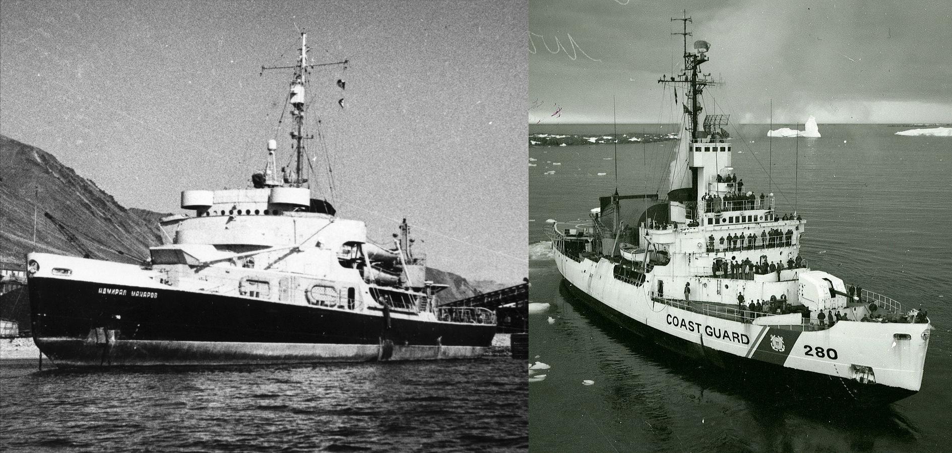 """""""Адмирал Макаров"""" в 1945-1949 гг. и он же, """"Southwind"""", в 1967 году в составе флота США"""