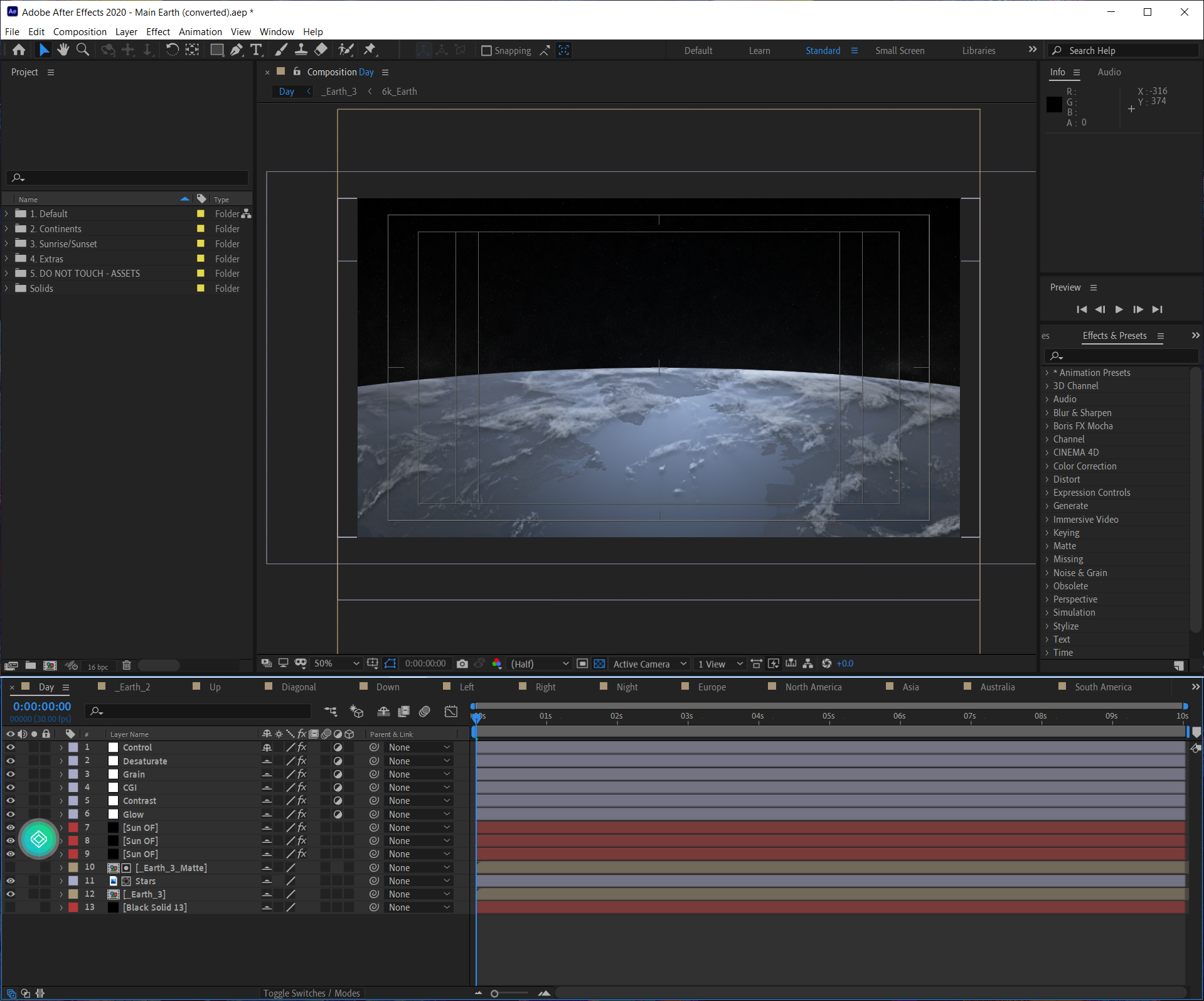 Adobe After Effects на двух экранах
