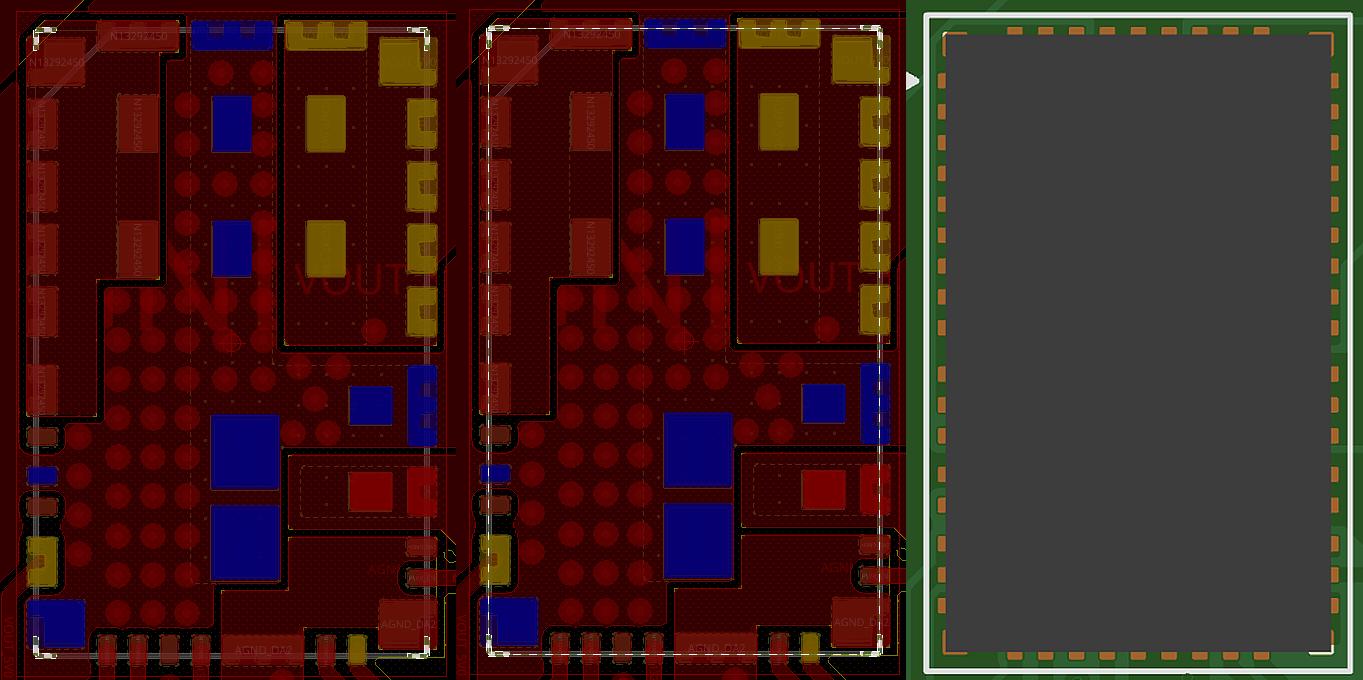Вскрытие маски по углам под корпусом (слева), оно же с периметром корпуса (центр), как это выглядит в ортографической проекции в 3D (справа)