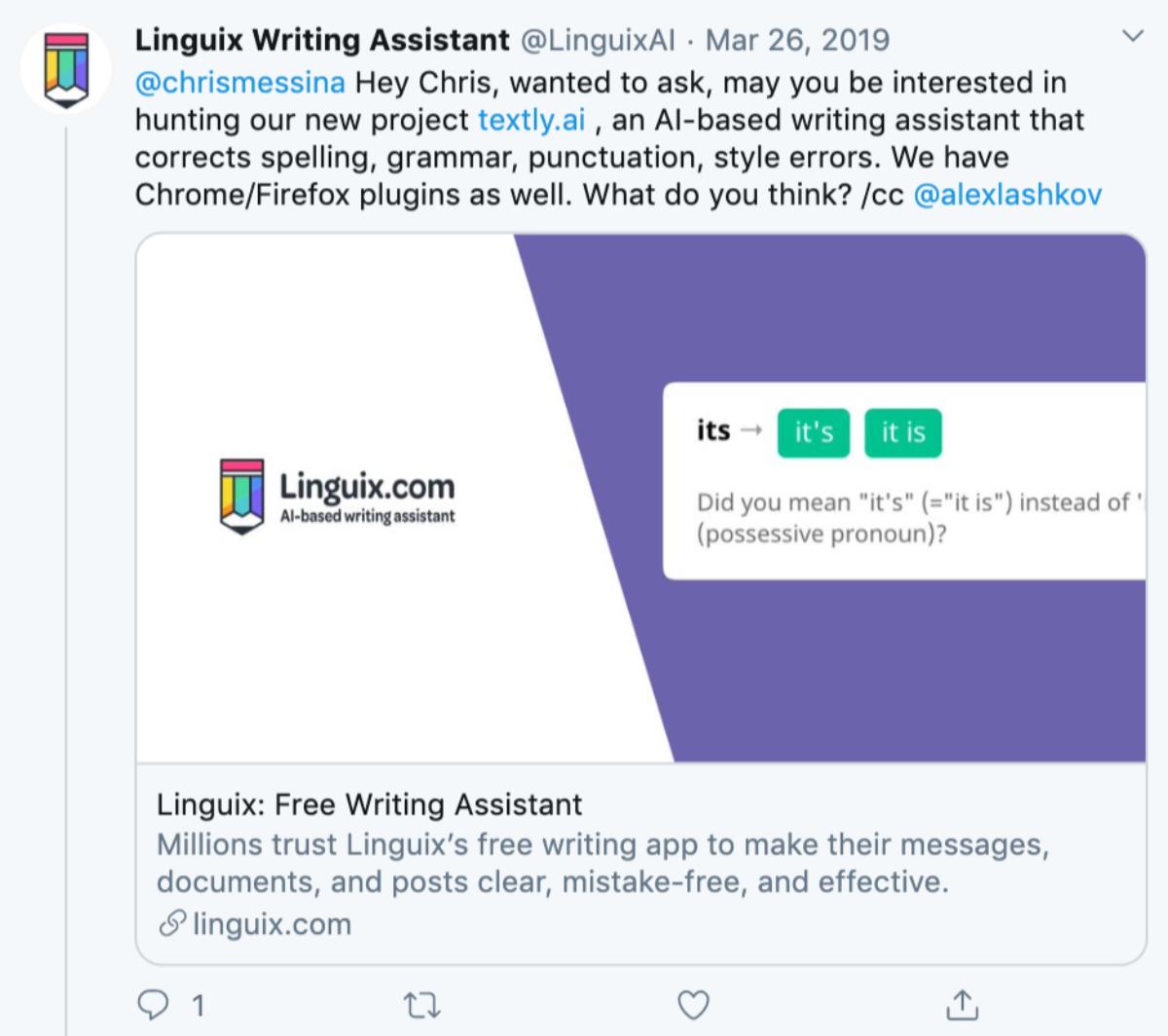 Пример сообщения для хантера в Twitter