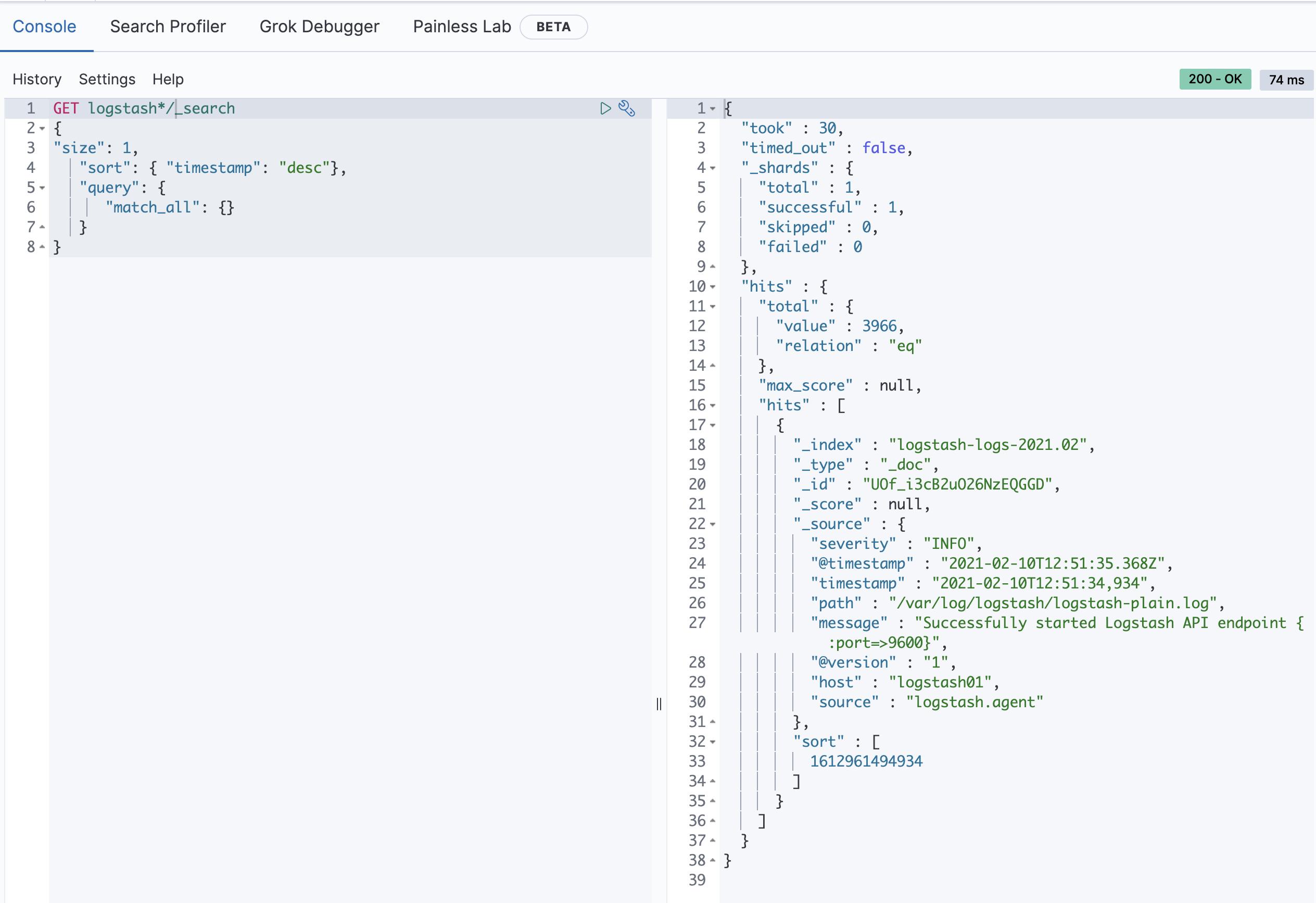 Dev Tools - Console в Kibana