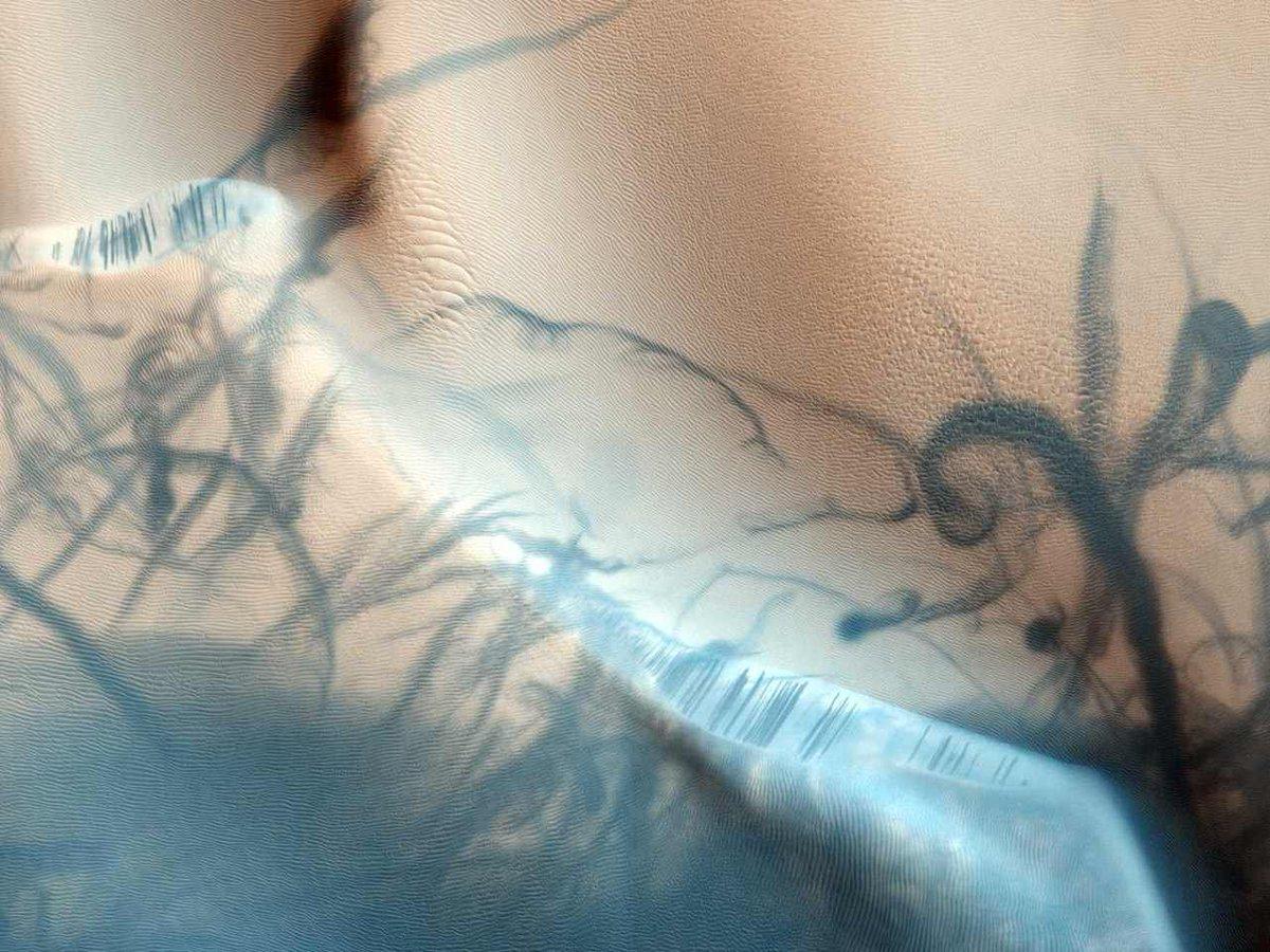 Марсианские пылевые дьяволы фотография с орбиты