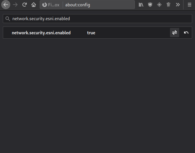 Включение ESNI в Firefox