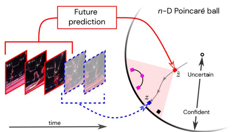 Учитывая прошлое (первые три кадра), разные изображения в шаре Пуанкаре могут кодировать разные варианты действий. Если неопределенность высока, система предскажет абстракцию возможных вариантов, представленную как z (красный квадрат). Предполагая, что реальное будущее представлено буквой z (синий квадрат), серые стрелки воспроизводят траекторию, которой будет следовать прогноз по мере появления дополнительной информации. Розовый круг иллюстрирует увеличение общности при вычислении среднего значения двух видовых представлений (розовые квадраты).