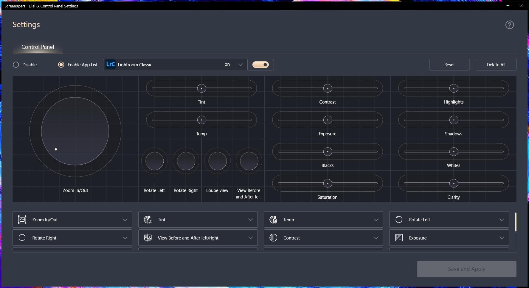 Пример панели инструментов для Adobe Lightroom Classic