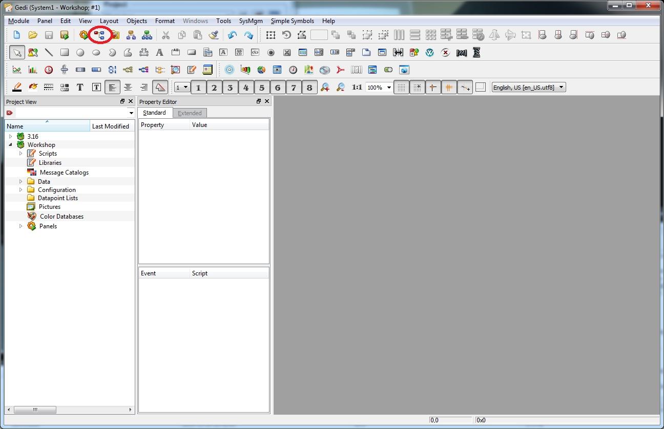 В редакторе gedi нажать кнопку, выделенную на скриншоте