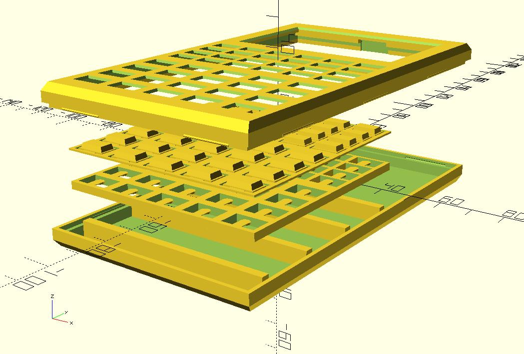 Корпус и клавиатура, нарисованные в OpenSCAD.