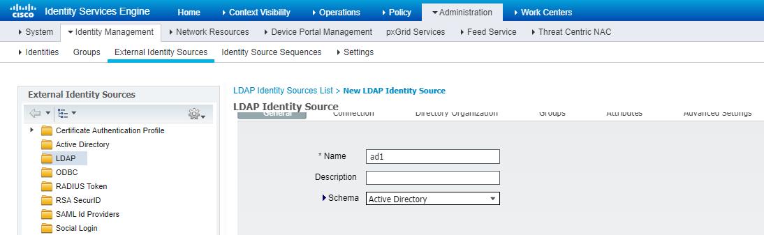 Рисунок 5. Добавление LDAP сервера со схемой Active Directory