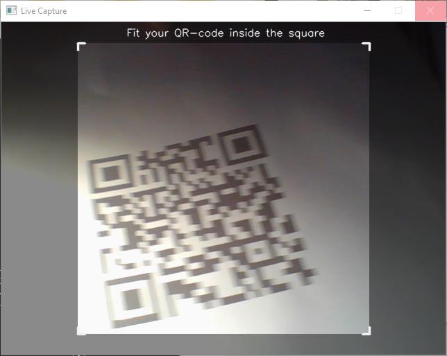 Рис. 4a). Фиксирование QR-кода в сканируемой области эфира