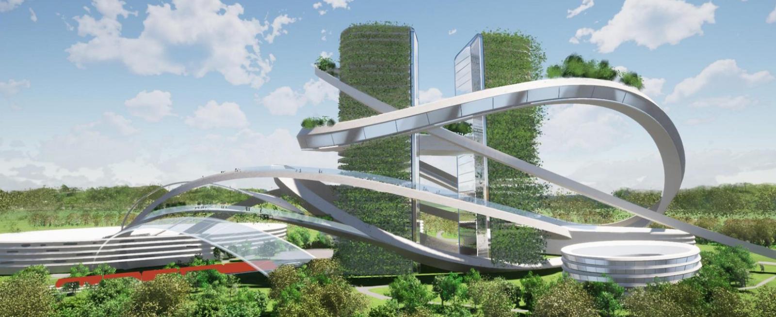 Проект здания «Н» в стиле вертикального парка у озера Полянское в Паркограде