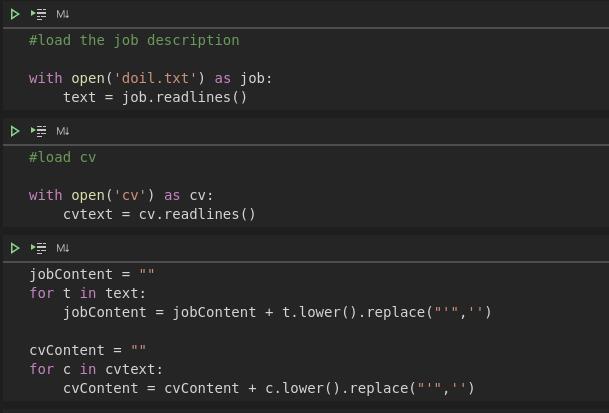 Рис. 1. Чтение текстовых файлов с диска и создание текстового объекта. Скриншот сделан автором из приложения Visual Studio Code – Jupyter Notebook.