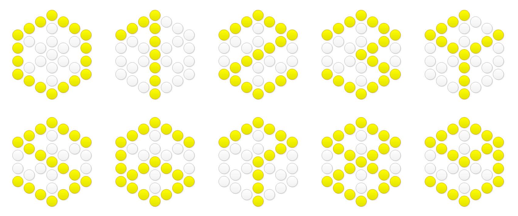 Гексагональные двенадцатисегментные цифры. Несколько облегчило задачу то, что один из сегментов включен всегда