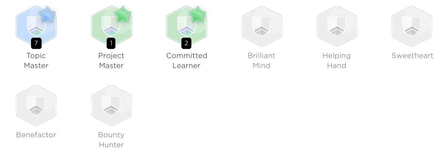 Персональные бейджи пользователя JetBrains Academy