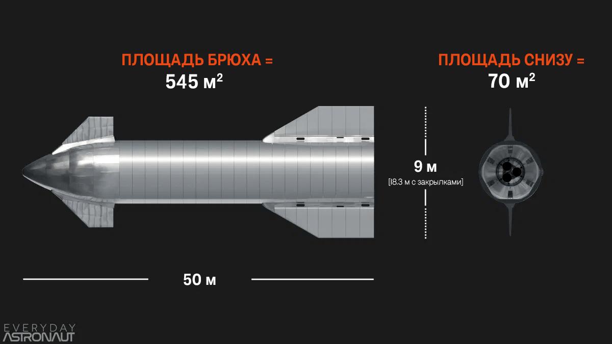 Площадь поверхности Starship: горизонтально vs. вертикально. Источник: Everyday Astronaut
