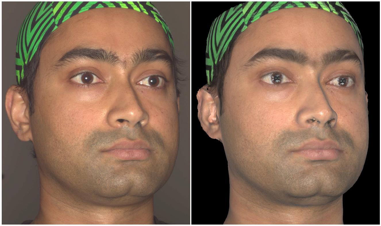 Фотография (слева) и рендеринг 3D модели лица (справа)