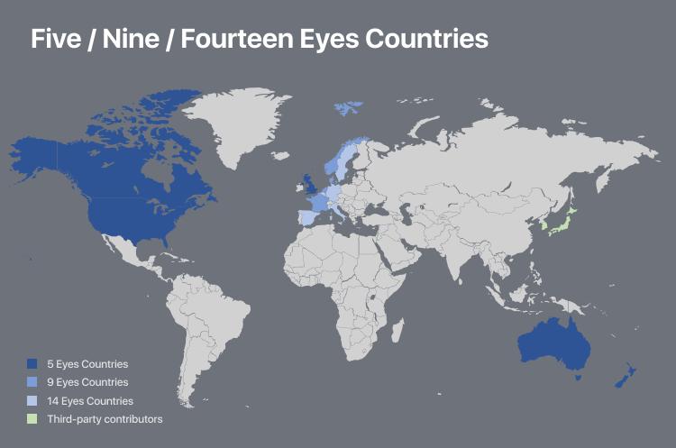 Страны-участники соглашения 5-eyes и его расширений