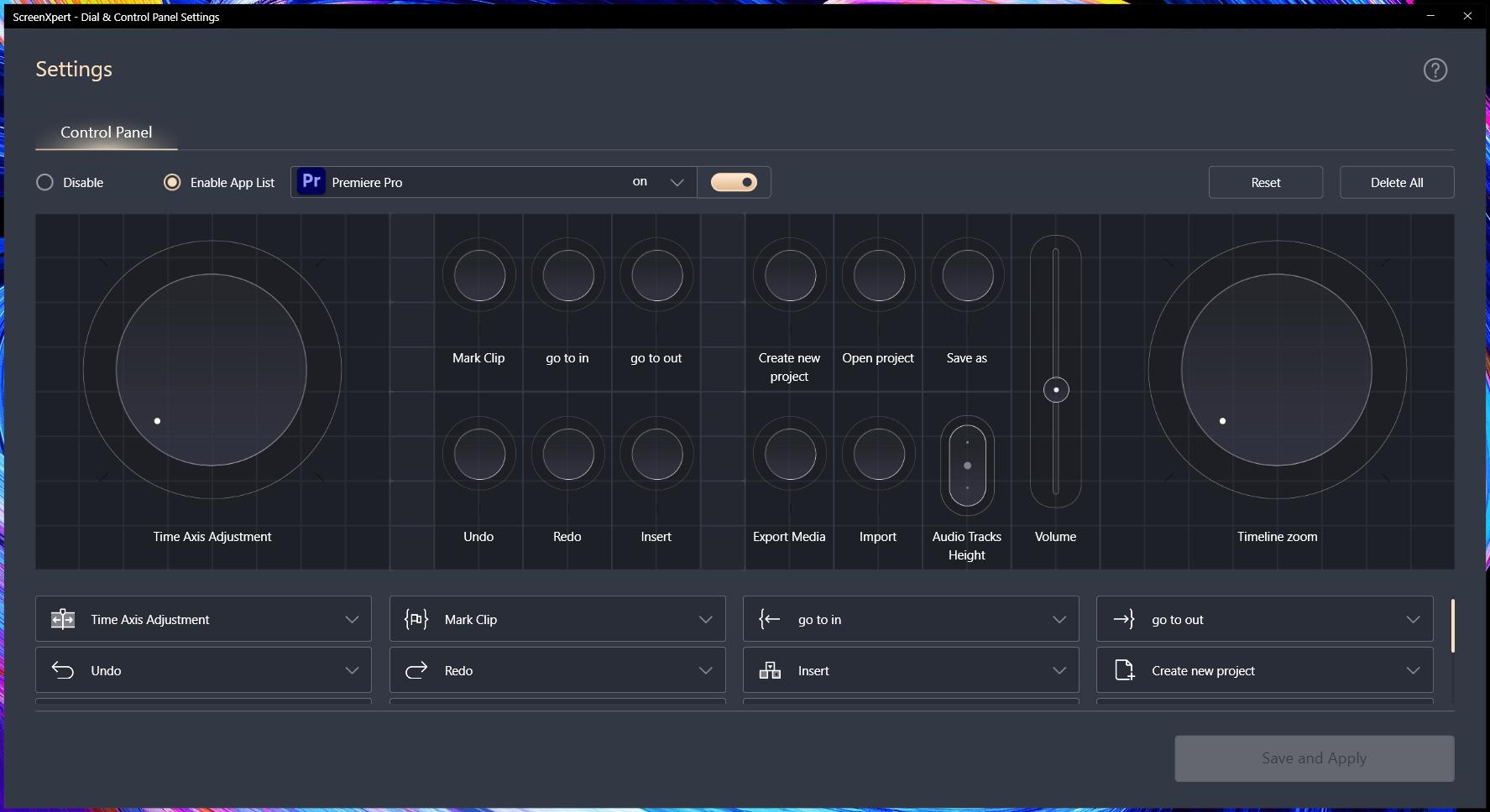 Пример панели инструментов для Adobe Premiere Pro